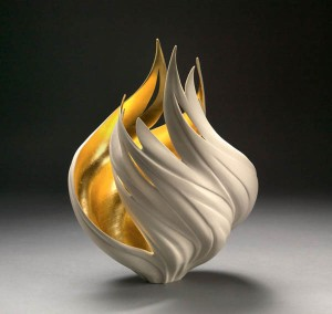 Porcelain wheel thrown; atlered carved fired to cone 10